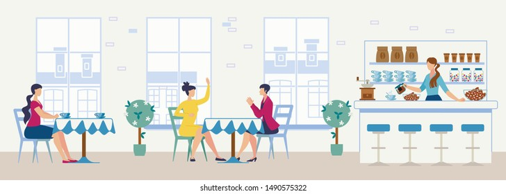 Comfortable Cafeteria, Bakery with Tea Bar of Coffee Shop Flat Vector Interior Clients Talking and Drinking Tea at Table, Female Bartender Standing at Bar Desk, Pouring Coffee in Cup Illustration
