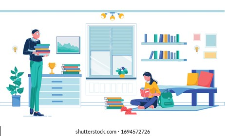 Comfortable College Dormitory Room. Brunette Sitting on Floor by Bed with Book, Backpack and Polka-Dotted Slippers Next to Her. Guy Wearing Glasses with Book Pile, Going to Join Coursemate.