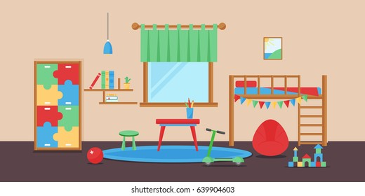 Comfortable cozy baby room decor children bedroom interior with furniture and toys vector.