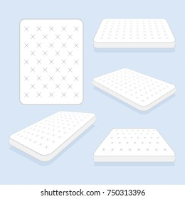 Comfortable double mattress for sleeping in all positions set. vector illustration