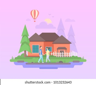 Comfortable house - modern flat design style vector illustration on purple background. A composition with couple holding hands before a small low-storey building, trees, hot air balloon, clouds, sun