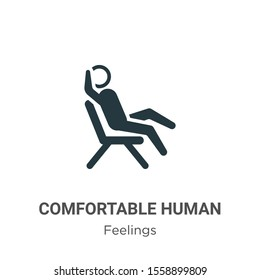 Comfortable human vector icon on white background. Flat vector comfortable human icon symbol sign from modern feelings collection for mobile concept and web apps design.