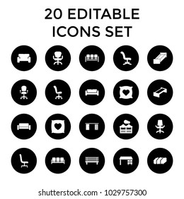 Comfortable Icons. Set Of 20 Editable Filled Comfortable Icons Such As  Garden Bench, Sofa