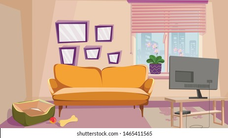 Comfortable Living Room with Beige Wall Interior Vector Illustration. Home with Animal. Dog Bed Pet Toy. Tv Monitor Game Station. Window Jalousie Louvers Flower Pot. Cozy Couch Sofa