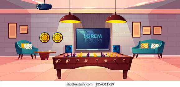 Comfortable recreation room for family leisure in house basement cartoon vector with soft armchair and sofa, darts on wall, projector on ceiling and football, soccer table-top game, TV illustration