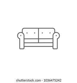Comfortable Sofa Household Furniture Outline Icon Vector Isolated on White Background