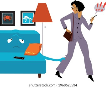 Comfy couch holding a reluctant woman who is going to work after lockdown, EPS 8 vector illustration