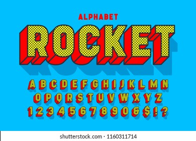 Comic 3d display font design, alphabet, letters and numbers. Swatch color control