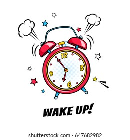 Comic alarm clock ringing and expression with wake up text. Vector bright dynamic cartoon object in retro pop art style isolated on white background.