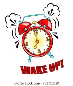 Comic alarm clock ringing and expression with wake up text. Vector bright dynamic cartoon object in retro pop art style isolated on white background