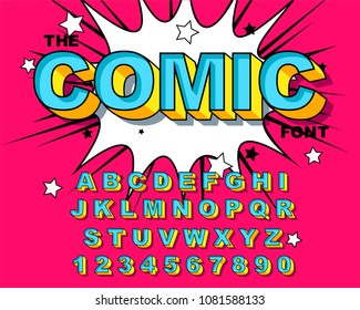 Comic Alphabet. Retro pink. Letters, numbers for kids illustrations, websites, comics, banners. Vector Comic alphabet. Pop-art Cartoon ABC Lettering Font. Comics speech bubble bang for explosions.