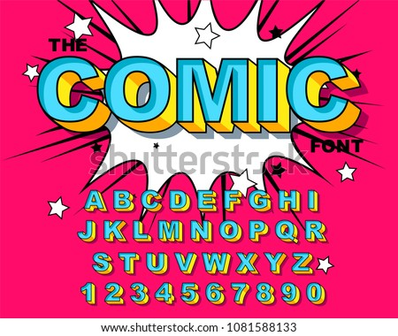 Comic Alphabet Retro pink