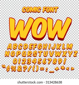 Comic alphabet set. Gold color version. Letters, numbers and figures for kids' illustrations, websites, comics, banners.