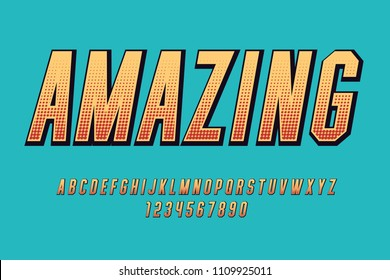 Comic amazing font Fun cartoon design letters and numbers Vector alphabet
