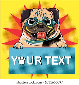 comic art and colorful halftone vector.Cartoon with balloon vintage and retro style.funny pug dog with balloon and halftone style.pop art puppy French bulldog and balloon text vector.