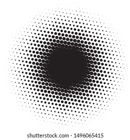 Comic background. Pattern with circles, halftone dotted backdrop. Radiating from the center starburst, sun burst rays, lines. Vector illustration