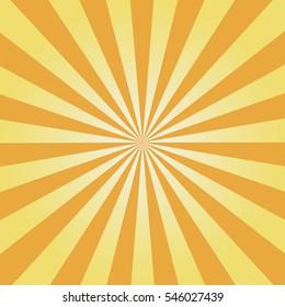 Comic background. Yellow Sunburst pattern. Vector illustration.