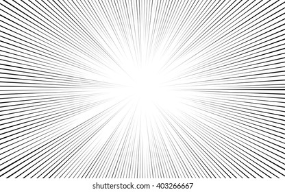 Comic black radial lines background Sun ray or star burst element Zoom effect Rectangle fight stamp for card Manga or anime speed graphic texture Superhero frame Explosion vector illustration eps