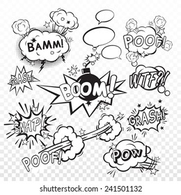 Comic black speech bubbles in pop art style with bomb cartoon explosion snap boom poof text set vector illustration