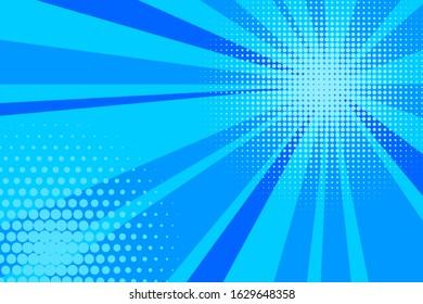Comic blue sunbeam background. Retro pop art style cartoon background. Vintage halftone vector illustration. Layout retro cartoon template. Comic book blue superhero burst effect