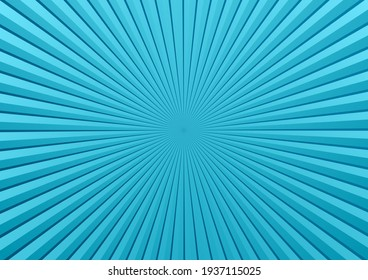Comic blue vector pop art background with sunbeams, space for your text. Abstract illustration