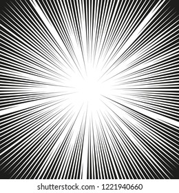 Comic book action lines. Speed lines Manga frame. Cartoon background. Black and white vector retro illustration