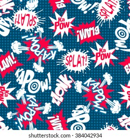 Comic book action words seamless pattern .