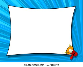 Comic book background with megaphone announcement, blank dialog window, speech bubble template, old vintage magazine style