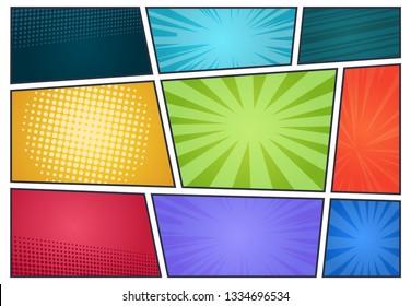 Comic book background. Pop art retro page style, halftone cartoon effect, comics frames cover. Vector comic radial templates set