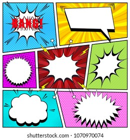 Comic book background with white speech bubbles of different shapes Bang wording sound stars lightnings halftone rays striped dotted and radial effects. Vector illustration