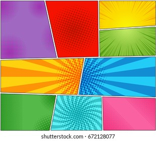 Comic book backgrounds set with rays, radial, halftone and dotted effects in pop art style. Vector illustration