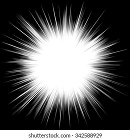 Comic book black and white radial lines background. Manga speed frame.Superhero action. Explosion vector illustration. Square stamp.