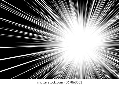 Comic book black and white radial lines background Rectangle fight stamp for card Manga or anime speed graphic texture Superhero frame Explosion vector illustration Sun ray or star burst element