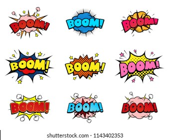 Comic book boom sound speech bubbles set, explosion blast and detonation funny icons, halftone print texture. EPS 10