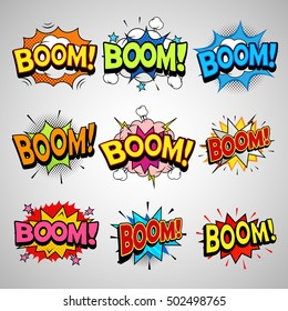 Comic book boom speech bubble set, halftone detailed texture, flat style art illustration