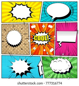 Comic book bright background with speech bubbles, arrow, blots, sound, rays and different halftone effects, funny radial and dotted backgrounds. Pop-art style. Vector illustration