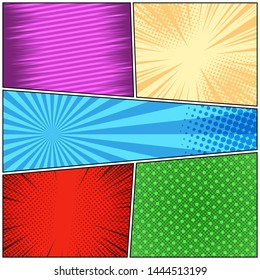 Comic book bright colorful concept with radial slanted lines halftone rays dotted humor effects. Vector illustration