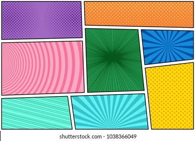 Comic book bright composition with halftone rays dotted radial circles slanted lines effects in different colors in pop-art style. Vector illustration