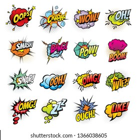 Comic book bubbles and sound blasts icons. Vector cartoon pop art bubbles of Oops, Crash or Bang sound and omg boom, Ouch or Zzz and wtf or snap cloud blast explosion