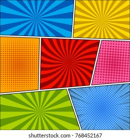 Comic book colorful background with rays, radial, dotted and halftone effects in blue, orange, red, pink, green colors. Vector illustration