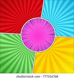 Comic book colorful concept of four backgrounds in red, green, blue, yellow colors with radial halftone effects and round purple frame in center with rays. Vector illustration