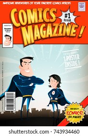 Comic Book Cover/ Illustration of a cartoon editable comic book cover template, with super hero man and woman characters, titles and subtitles to customize, and wrong bar code and label