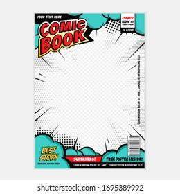 Comic book cover template. Art conceptual.