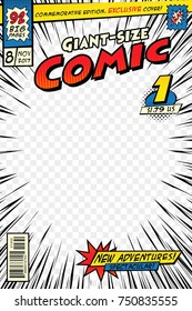 Comic book cover template. Art conceptual