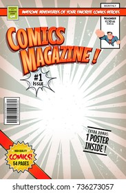 Comic Book Cover Template/ Illustration of a cartoon editable comic book cover template, with super hero character flying, titles and subtitles to customize, and wrong bar code and label