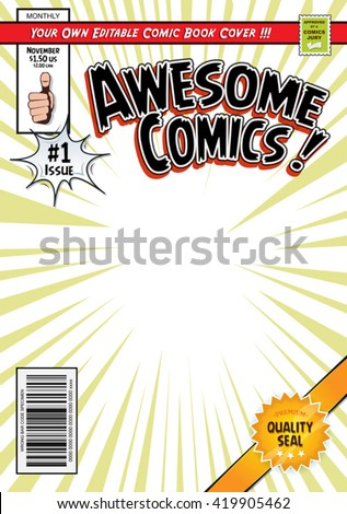 Comic Book Cover Template Illustration