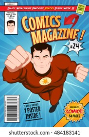Comic Book Cover Template/Illustration of a cartoon editable comic book cover template, with super hero character flying, titles and subtitles to customize, and wrong bar code and label