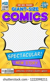 Comic book cover. Vintage comics magazine layout. Cartoon title page vector template