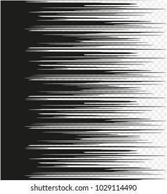 Comic Book Design Element Speed Lines Explosion Manga cartoon on transparent background. Vector Illustration