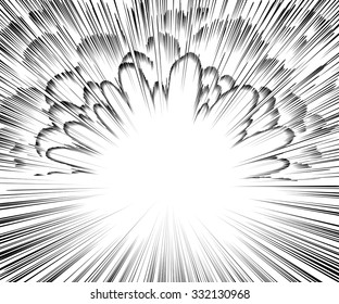 Comic book explosion. Black and white radial lines background. Manga speed frame.Superhero action. Vector illustration. Square stamp.